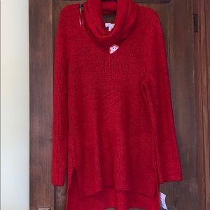 Nwt Liz Claiborne red tunic sweater/scarf combo!!